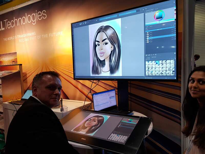 Digital caricatures at ExCel London Exhibition centre