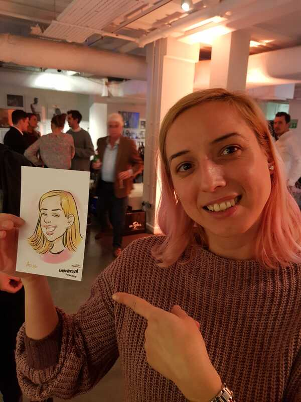 Digital caricatures on a party