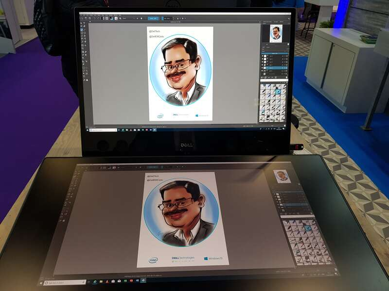 Exhibition digital live drawing caricatures on Dell Canvas