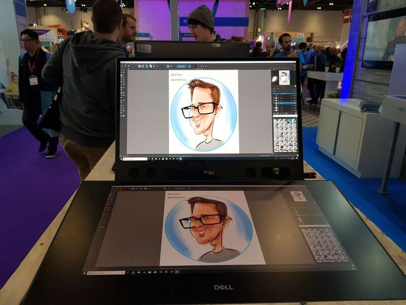 Exhibition digital live drawing caricatures on Dell Canvas 2