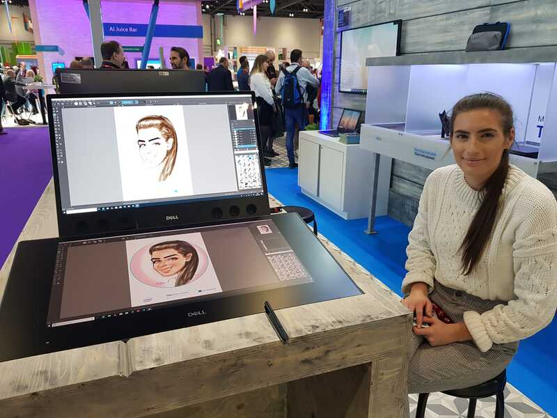 Exhibition digital live drawing caricatures on Dell Canvas 3