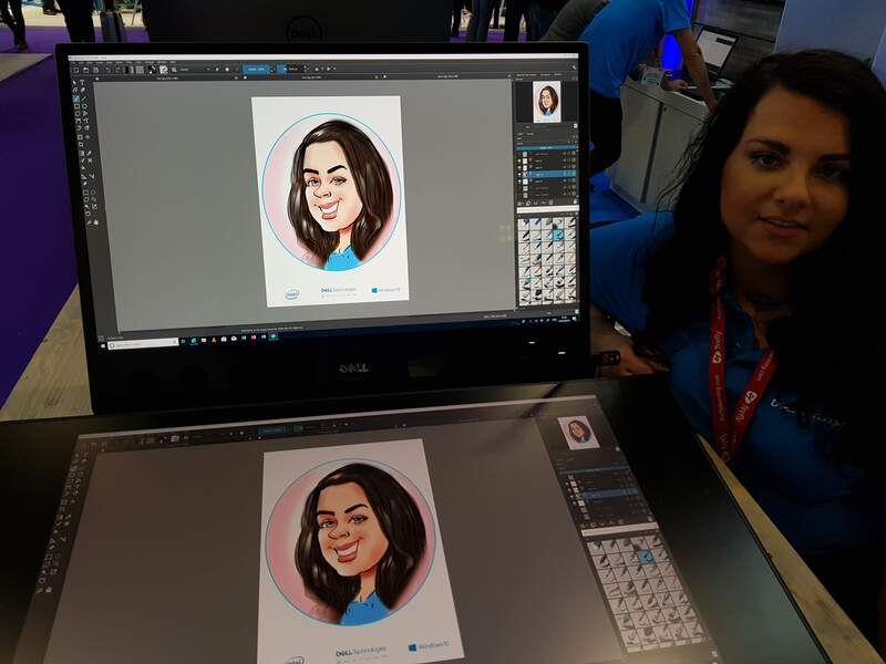 Exhibition digital live drawing caricatures on Dell Canvas 4
