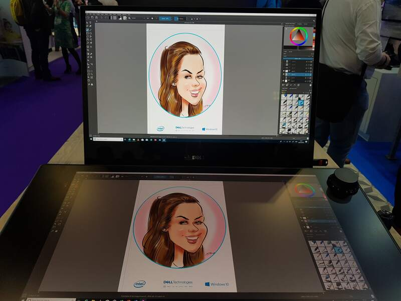 Exhibition digital live drawing caricatures on Dell Canvas 5