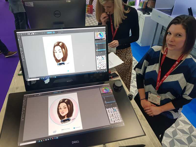 Exhibition digital live drawing caricatures on Dell Canvas 6