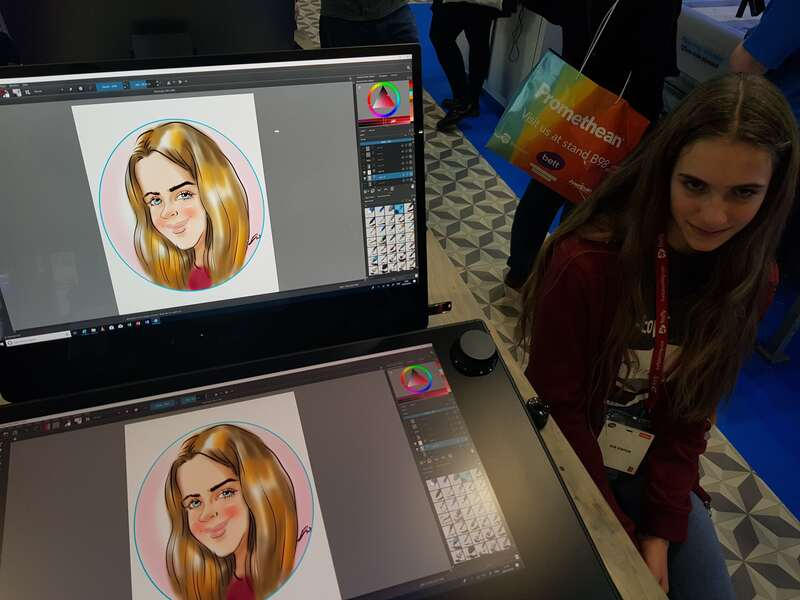 Exhibition digital live drawing caricatures on Dell Canvas 7