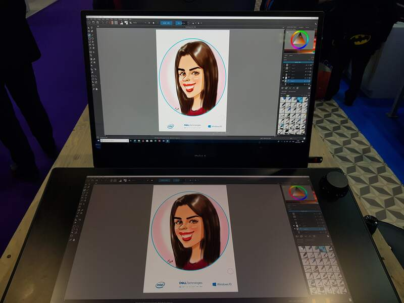 Exhibition digital live drawing caricatures on Dell Canvas 9