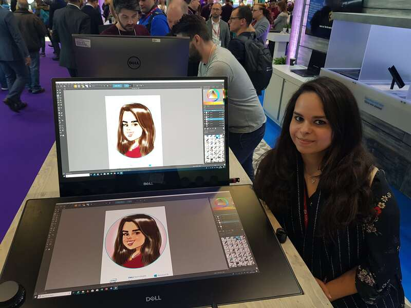 Exhibition digital live drawing caricatures on Dell Canvas 8