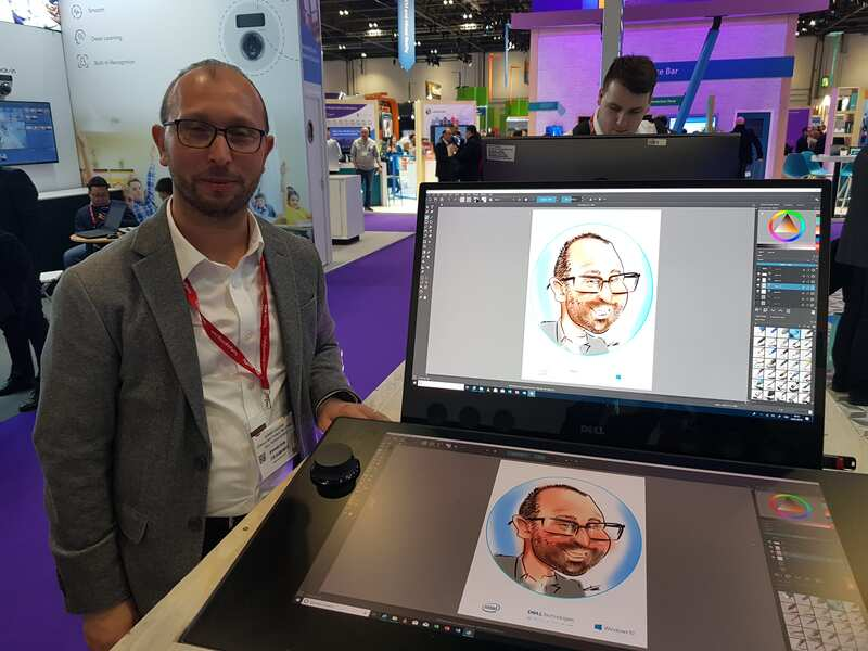 Exhibition digital live drawing caricatures on Dell Canvas 10