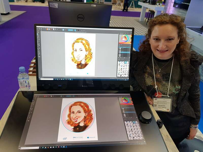 Exhibition digital live drawing caricatures on Dell Canvas 11