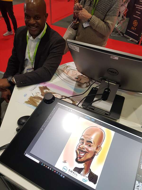 Exhibition at ExCel London digital live drawing caricatures on Dell Canvas