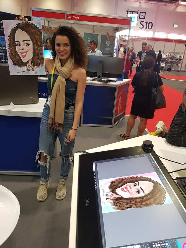 Digital caricature at an ExCel London exhibition centre