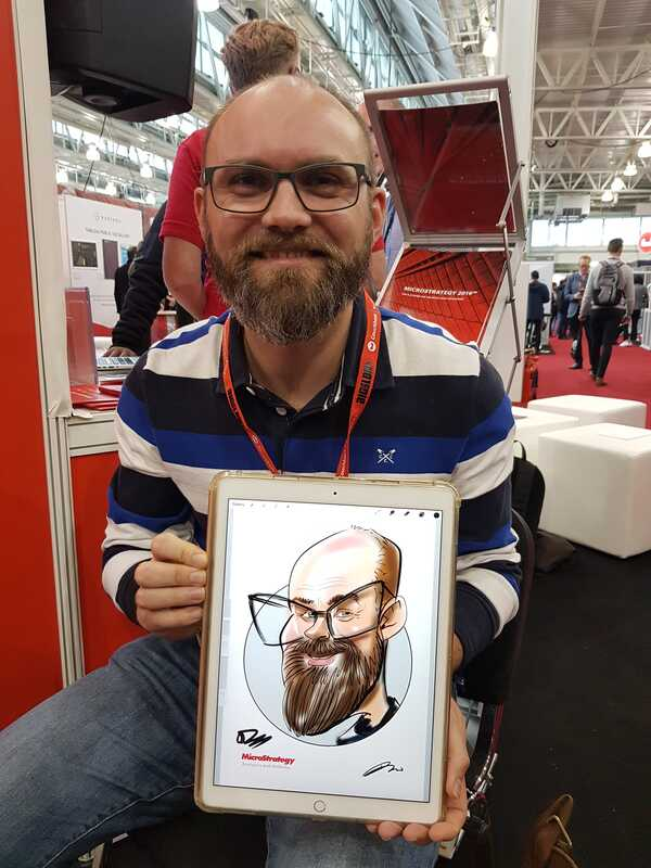 Digital caricature at an exhibition centre