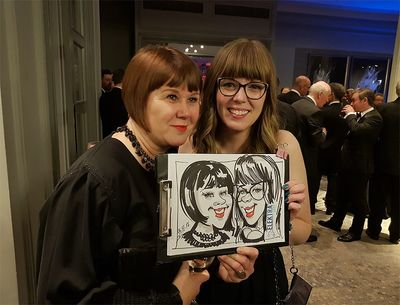 Christmas party awards caricature artist