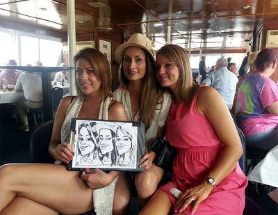 Caricaturist entertainment on a boat