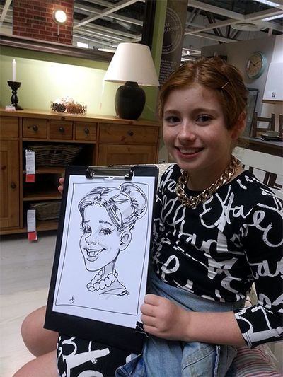 Caricature at IKEA of a young girl