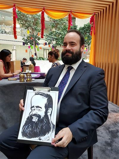 Caricaturist on Coutts Bank corporate function