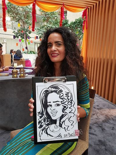 Caricature artist at Coutts Bank corporate function