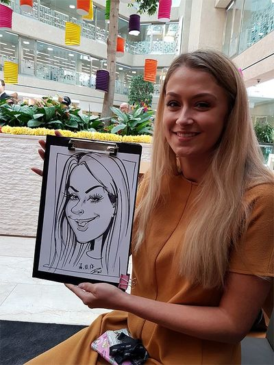 Coutts Bank party caricatures