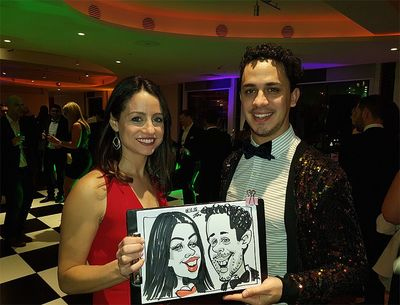Caricature of a couple on corporate event