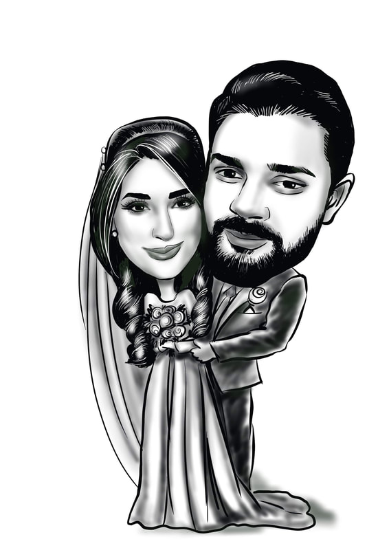 wedding iPad digital caricature from photo