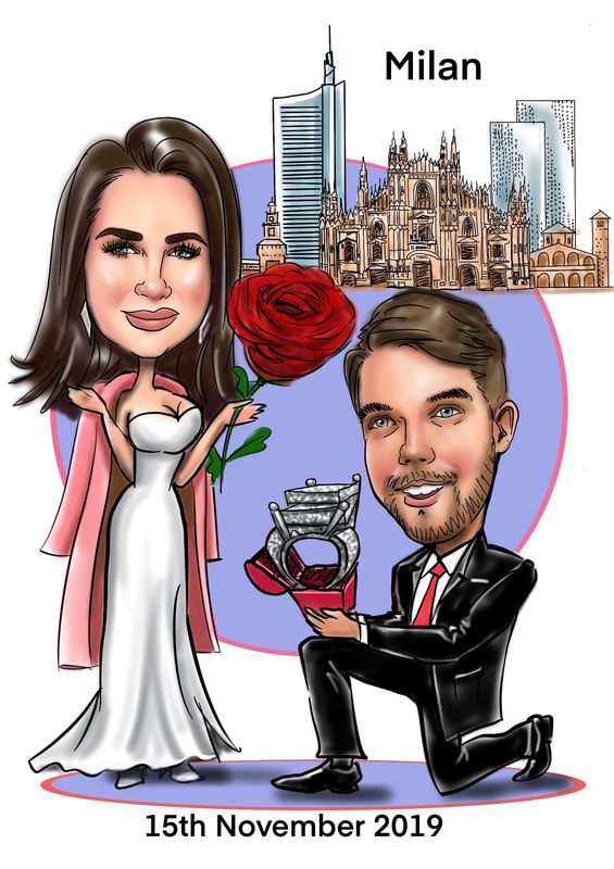 Couple proposal digital caricature